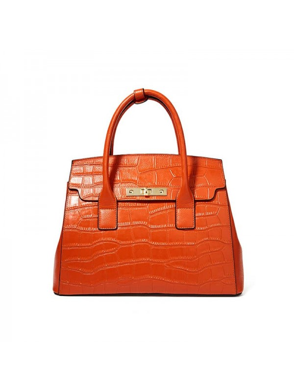 Women's Texture Handbag Purses, Genuine Leather Handbag in Orange