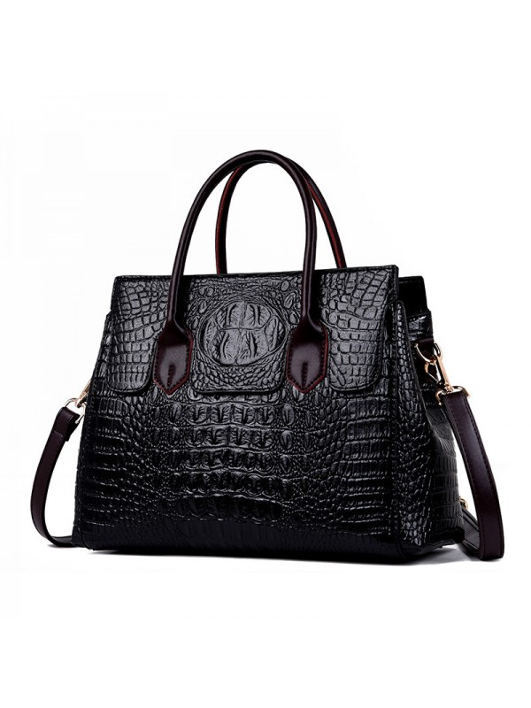 Women's Crocodile Skin Texture Handbag Purses in B...