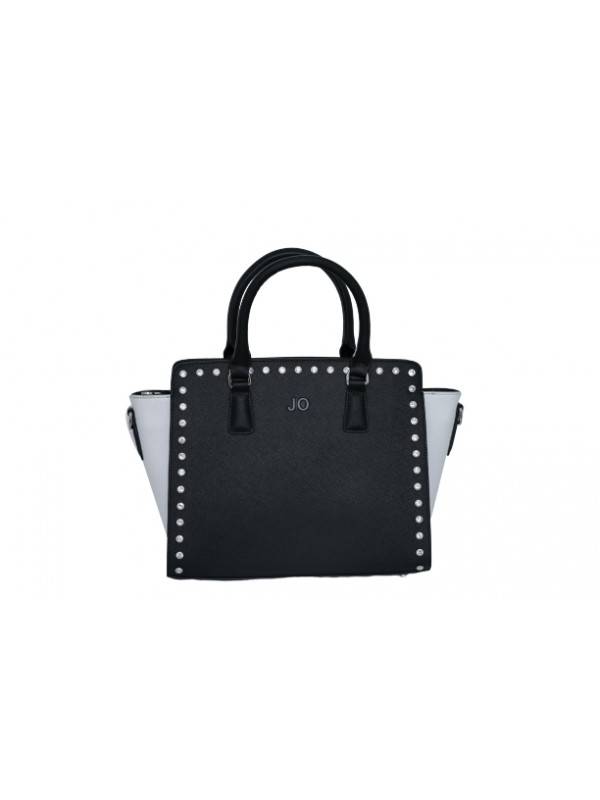 JO Black and White Women Genuine Cowhide Leather H...