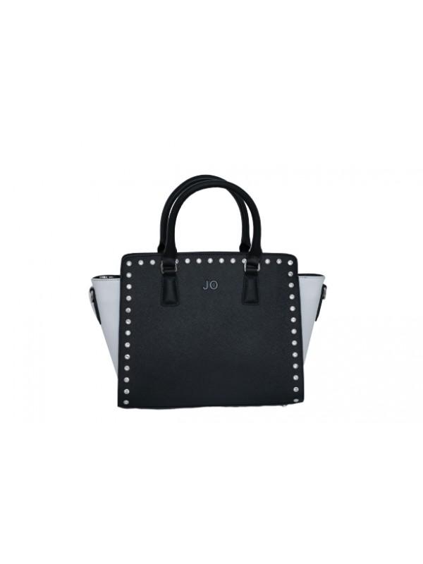 JO Black and White Women Genuine Cowhide Leather Handbag