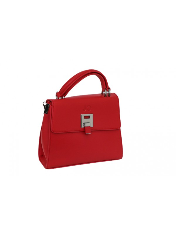 JO Red Women Genuine Leather Cute Shoulder Bag with Two Handles